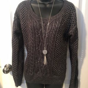 Apt 9 charcoal gray, open weave sweater